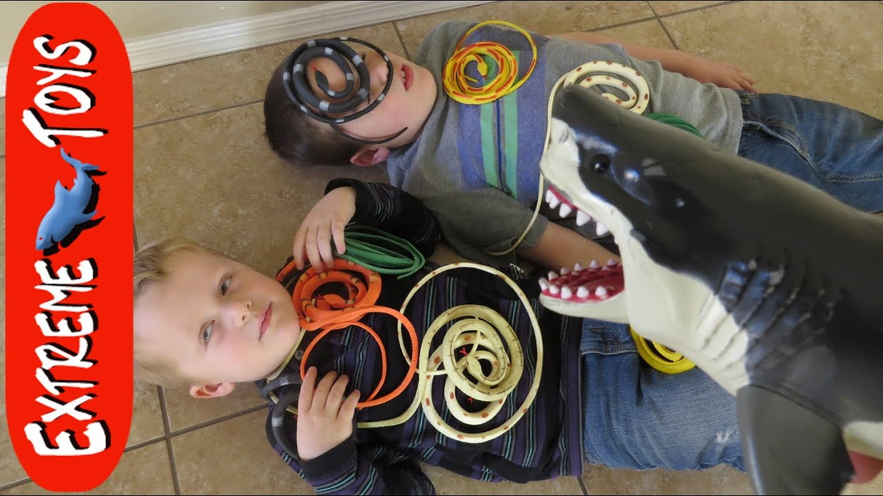 Shark Toy Box : Snakes in a box toy megalodon shark helps boys fight