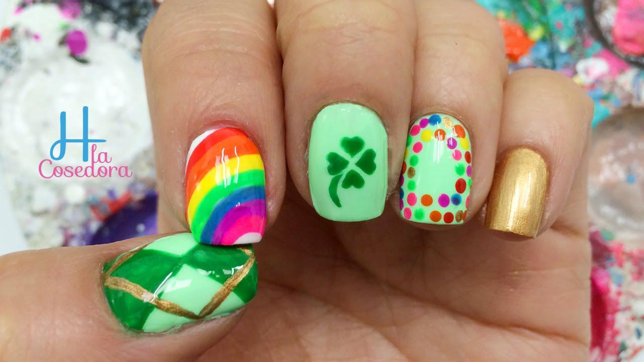 Decoracion de uñas San Patricio - Saint Patrick\'s Day Nail Art - YouTube