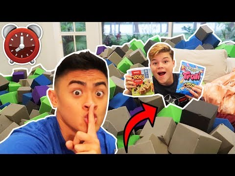 24 HOUR OVERNIGHT CHALLENGE IN A FOAM PIT! *LOST PHONE*