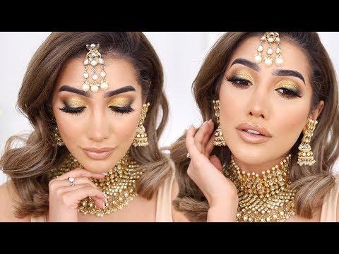 Yellow Gold Indian Destination Wedding / EID Makeup Look   AnchalMUA