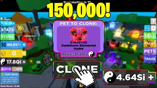 i can Clone over 150,000 THOUSAND of the best pet Z-Masters Darkstorm Elemental in Ninja Legends