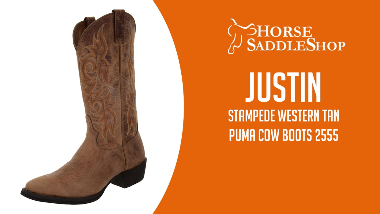 Justin Boots Men S Stampede Western Tan Puma Cow Boots