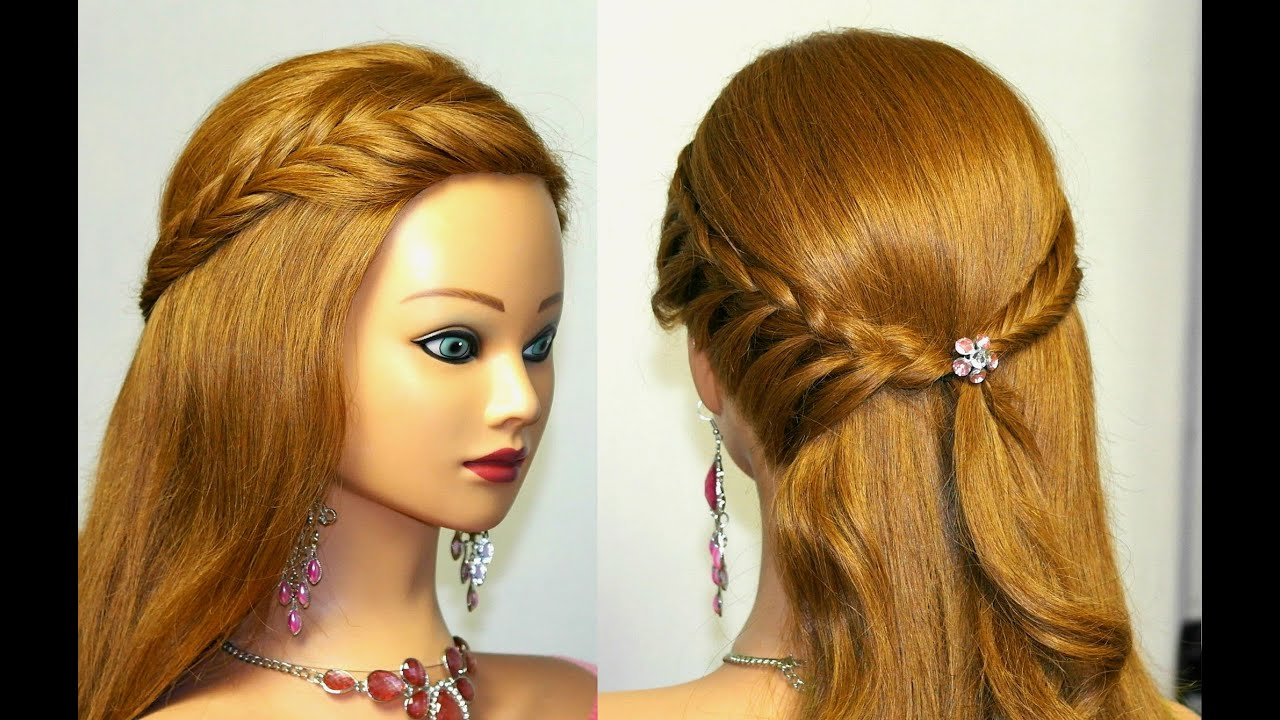 Easy bridal, prom hairstyle for medium long hair - YouTube