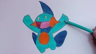 Dibujando y pintando Marshtomp (Pokemon) - Drawing and painting Marshtomp
