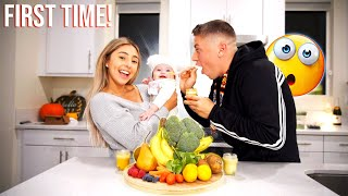 BABY'S FIRST TIME EATING REAL FOOD!!! **CUTEST REACTION EVER**