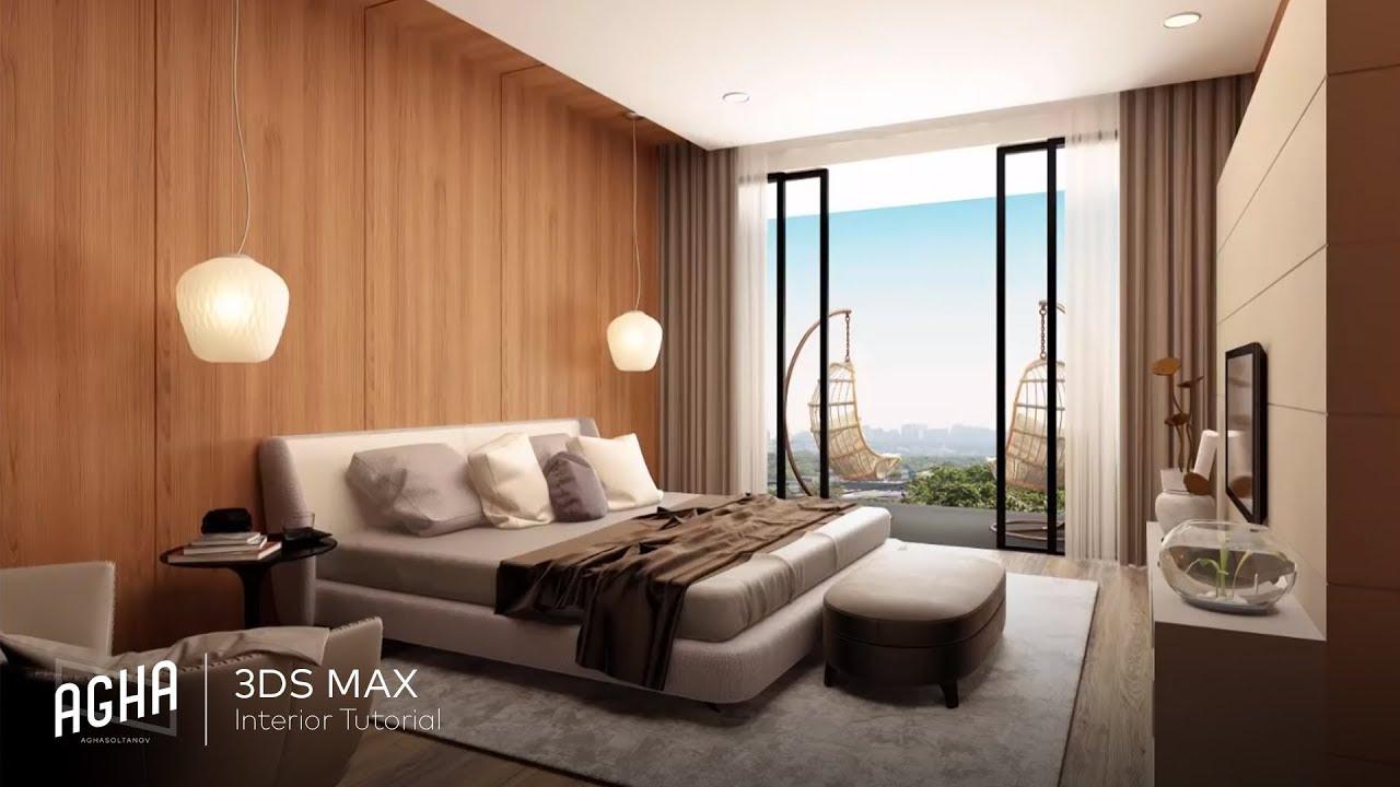 Bedroom Tutorial Interior 3Ds Max 2018  Photoshop   YouTube