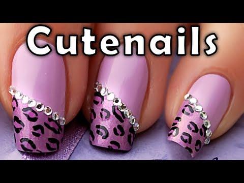 purple leopard cheetah nail art