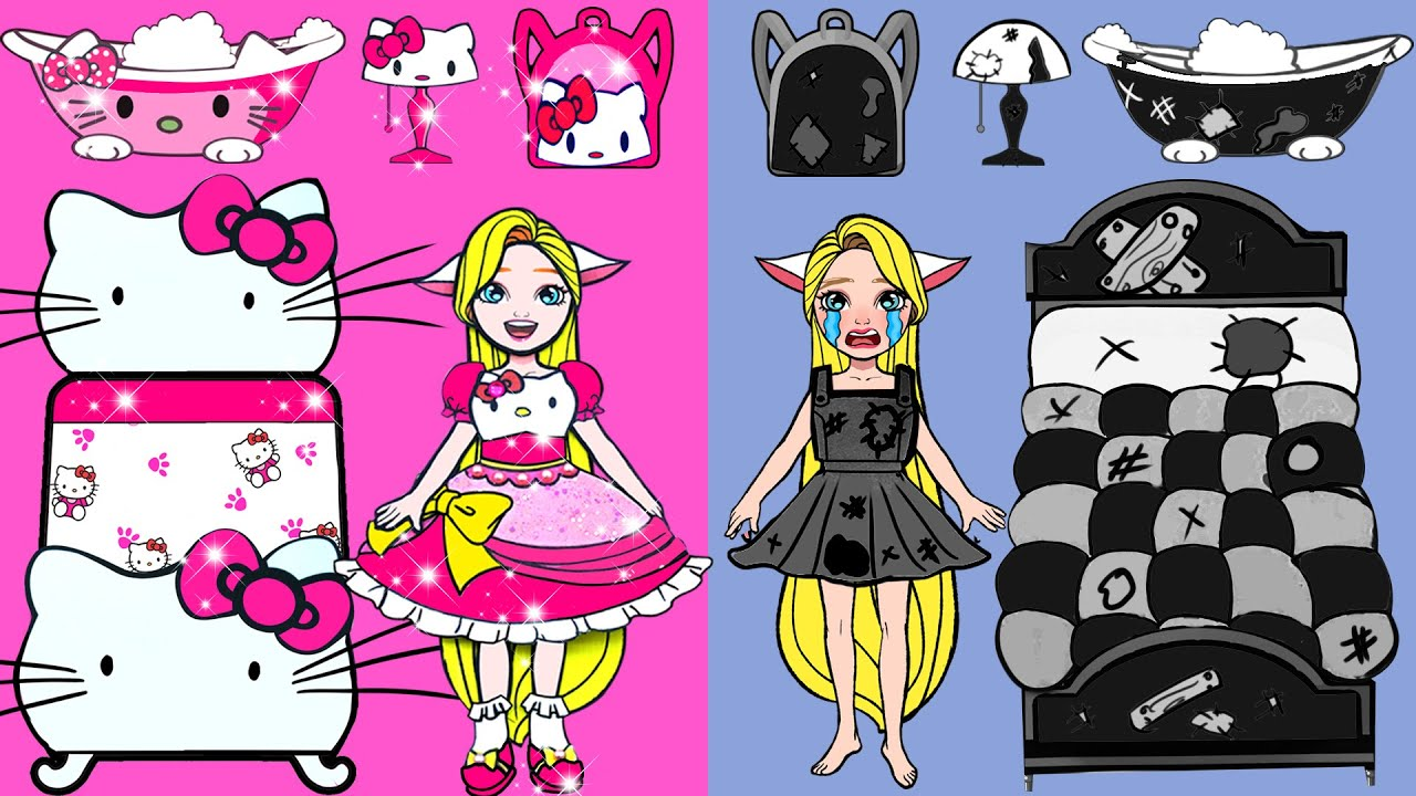 Paper Dolls Dress Up - Costume Hello Kitty Party Handmade Dresses Quiet Book - Barbie Story & Crafts