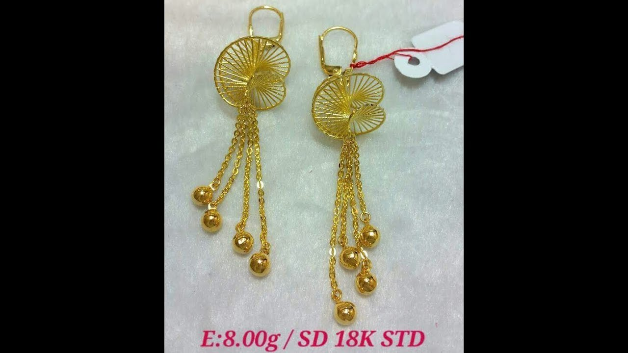 Gold Earrings Dangling Light Weight