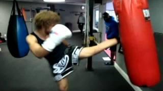 Muay Thai hard bag practice