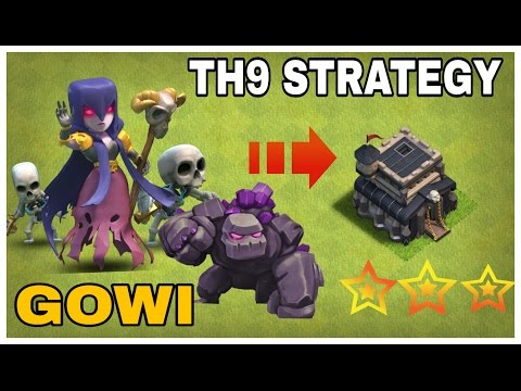 GOWI Golem +Witch TH9 3 STAR ATTACK STRATEGY  Clash Of Clans