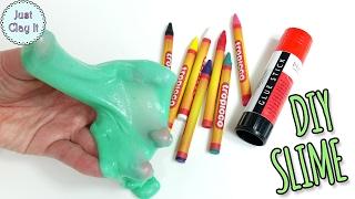 DIY Slime with wąx crayons! Glue stick slime without borax