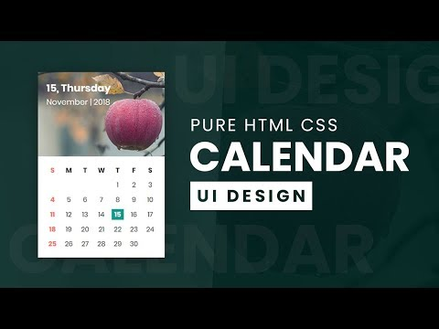 Calendar UI Design With CSS Grid | Pure Html CSS UI Design