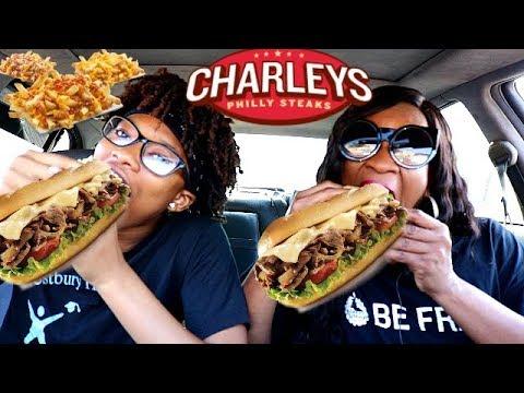 CHARLEYS PHILLY STEAKS & CHEESE FRIES MUKBANG!