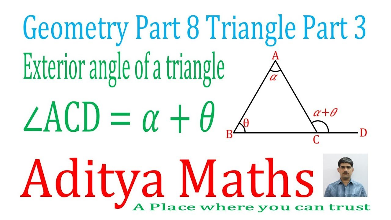 Exterior angle of a triangle proof geometry by aditya - Triangle exterior angle theorem proof ...