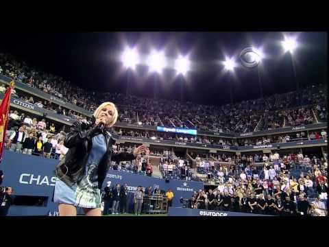 Cyndi Lauper sings USA National Anthem Sept 10, 2011 at US Open NYC (Tennis) HQ UPGRADE