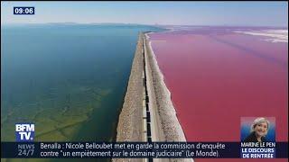 Un drone filme les deux visages étonnants du Grand Lac Salé au nord de l'Utah