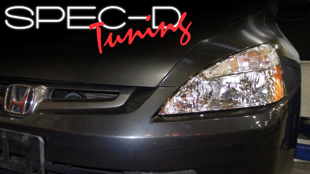 SPECDTUNING INSTALLATION VIDEO: 2003 - 2005 HONDA ACCORD SEDAN 4 DOOR HEADLIGHTS - YouTube
