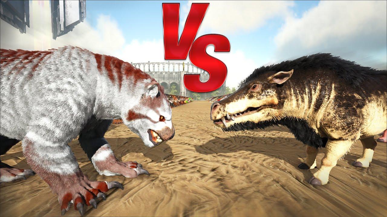 Daeodon Vs Thylacoleo Ark Battle Play as a dino mod. youtube
