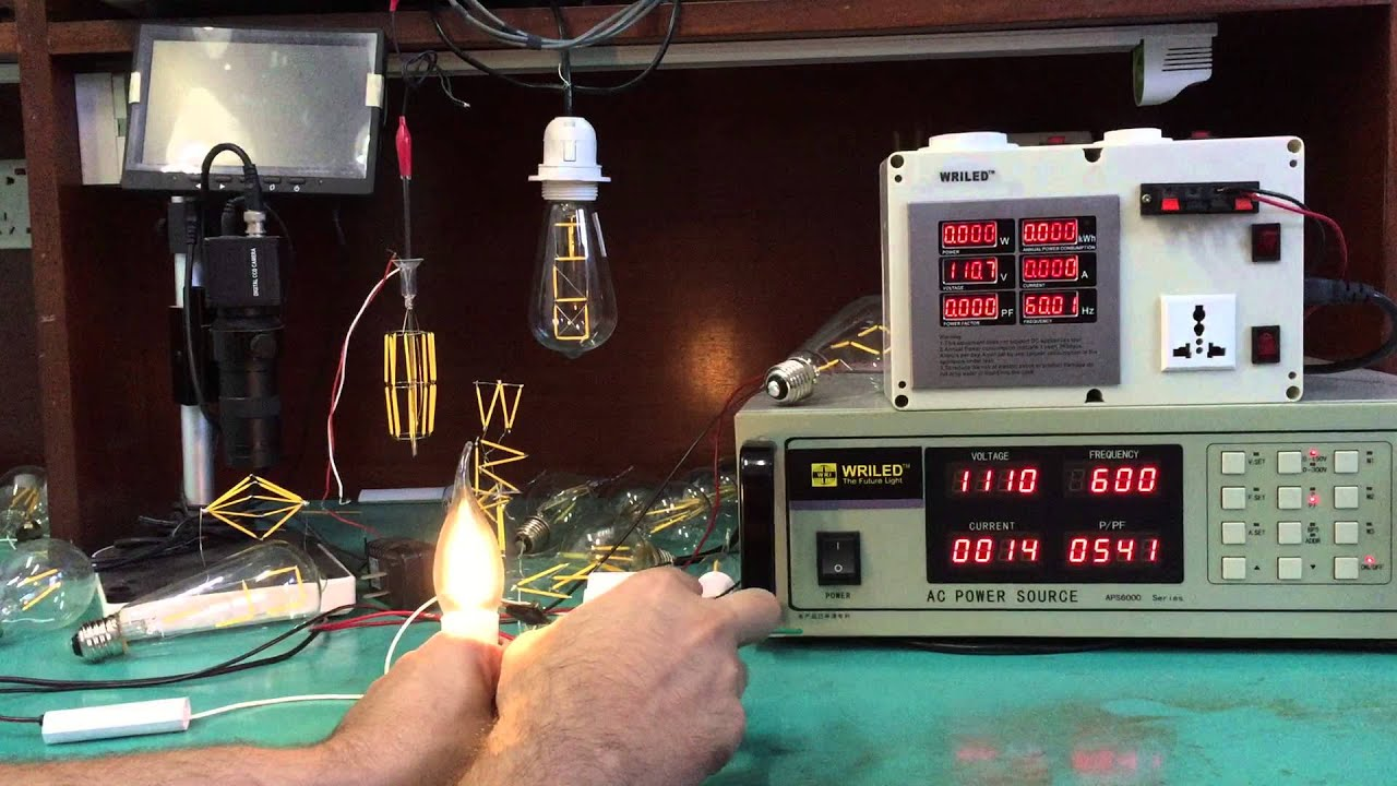 120v wriled led filament candle bulb e12 dimmable testing by leviton
