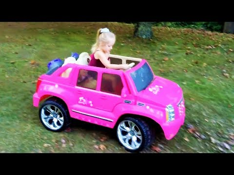 Playing In The Park On The Pirate Ship Playground For Kids Pink Car Ride On Power Wheels & Baby Doll