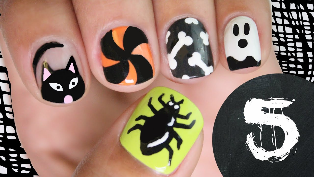 Easy Nail Art For Halloween 5 Designs Youtube