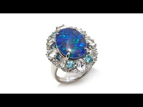 Colleen Lopez Australian Opal Triplet and Gem Ring. http://bit.ly/2x5bwRx