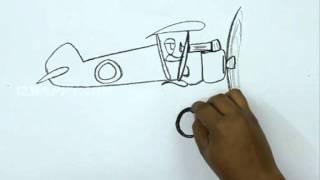 How to Draw a Cartoon Biplane