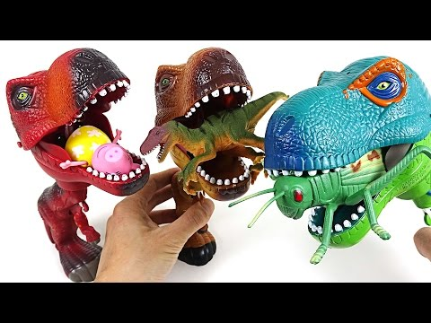 Thumbnail: Three terrible hungry dinosaurs appeared! They eat insects, dinosaurs and Peppa Pig! - DuDuPopTOY