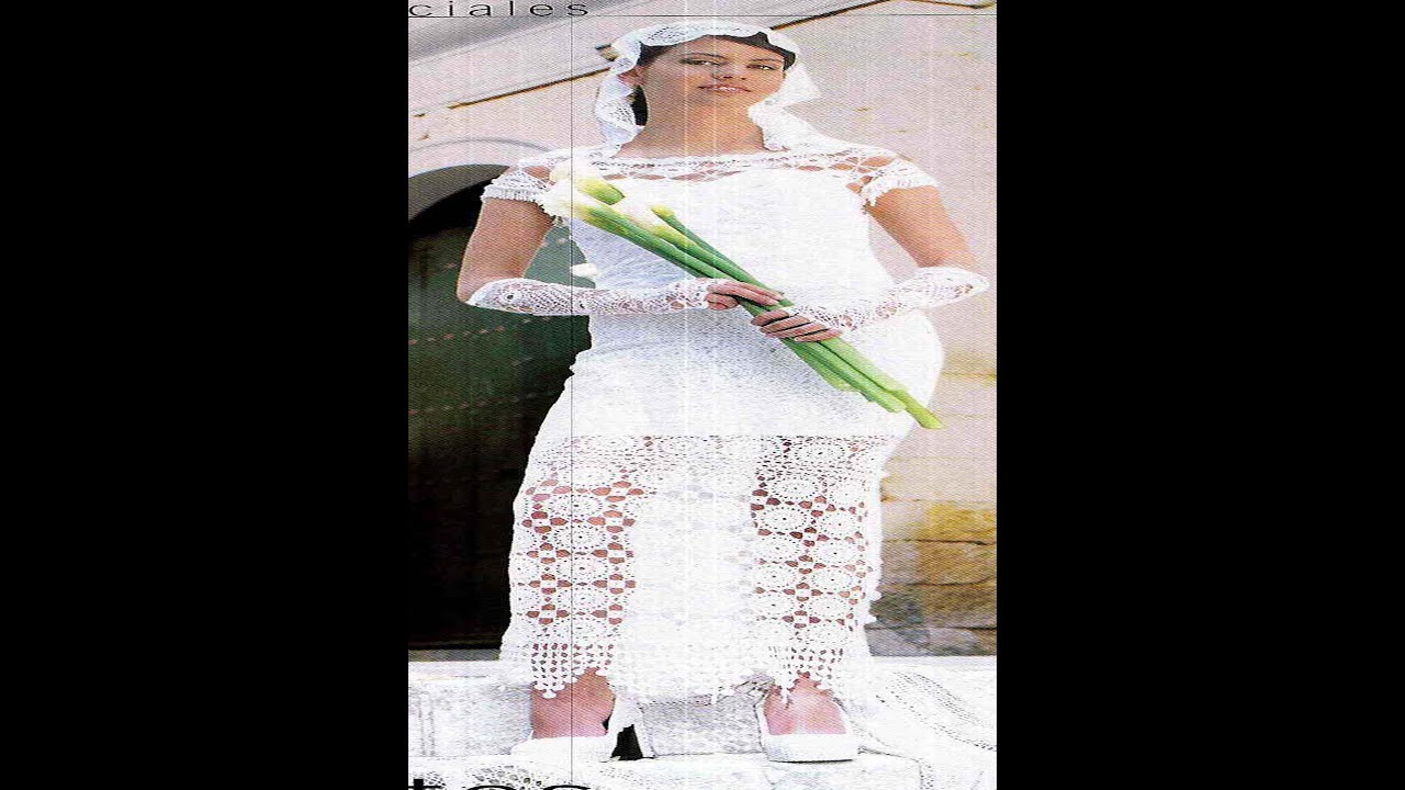 Tejido a crochet hermosos vestido de novia - YouTube