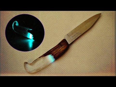 """Как сделать рукоятку """"Гроза"""" для ножа из эпоксидной смолы и дерева"""