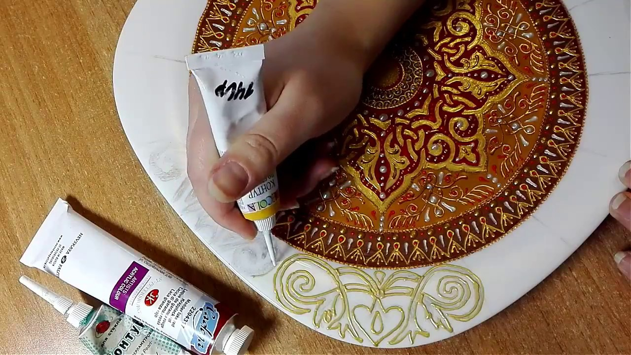 Роспись тарелки от Яны Шапран. Декоративная тарелка на стену - YouTube
