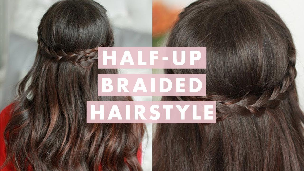 Valentine S Day Half Up Braided Hairstyle Youtube