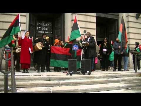 March To Raise The Black, Red And Green Flag For Black History Month