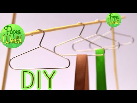 How to make doll clothes hangers (FROM paper clips)