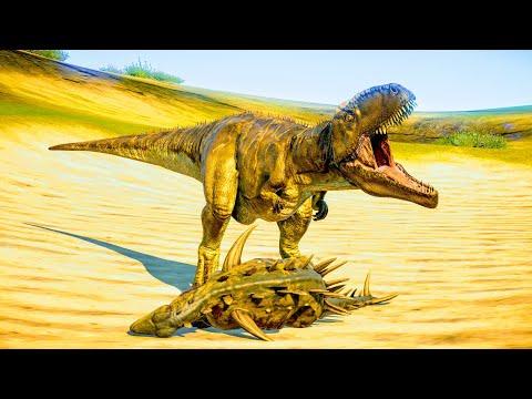 Acrocanthosaurus & Giganotosaurus Hunting In Desert Environment - Jurassic World Evolution |