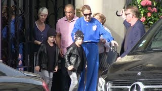 EXCLUSIVE - Super friendly Celine Dion and her twins Eddy and Nelson in Paris