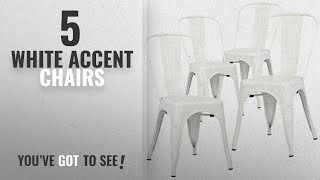 Top 10 White Accent Chairs [2018]: Poly and Bark Trattoria Side Chair in White (Set of 4)