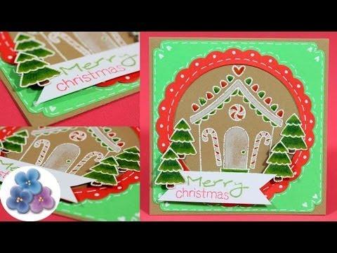 Tarjetas de navidad 2015 casita de galleta tarjetas - Manualidades para hacer tarjetas ...