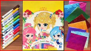 Tranh dán giấy màu nhũ công chúa hàn quốc lấp lánh và tô màu - Color paper stickers (Chim Xinh)