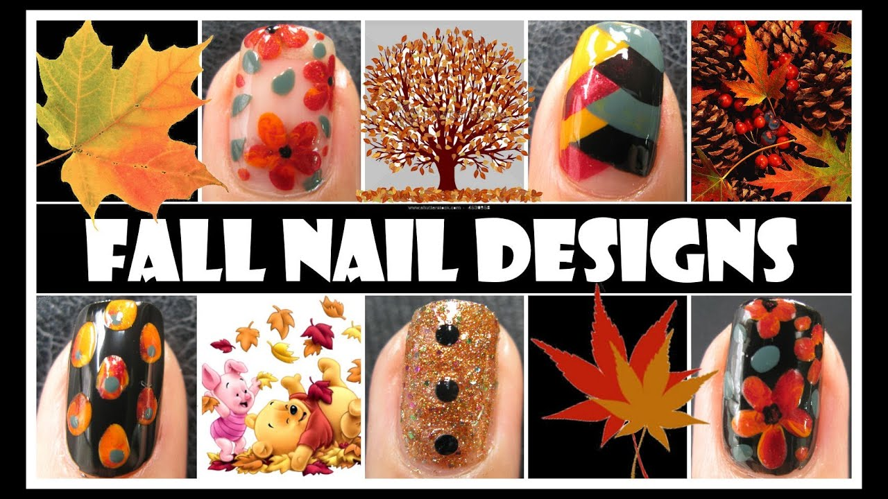 FALL NAIL ART TUTORIALS | AUTUMN FISHTAIL BRAIDED WEAVE FLOWER ...