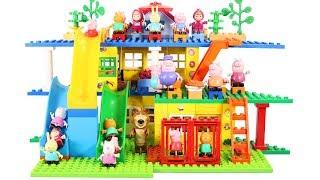 Peppa Pig Blocks Mega House Toys For Kids - Lego Duplo House With Water Slide Construction Sets #8