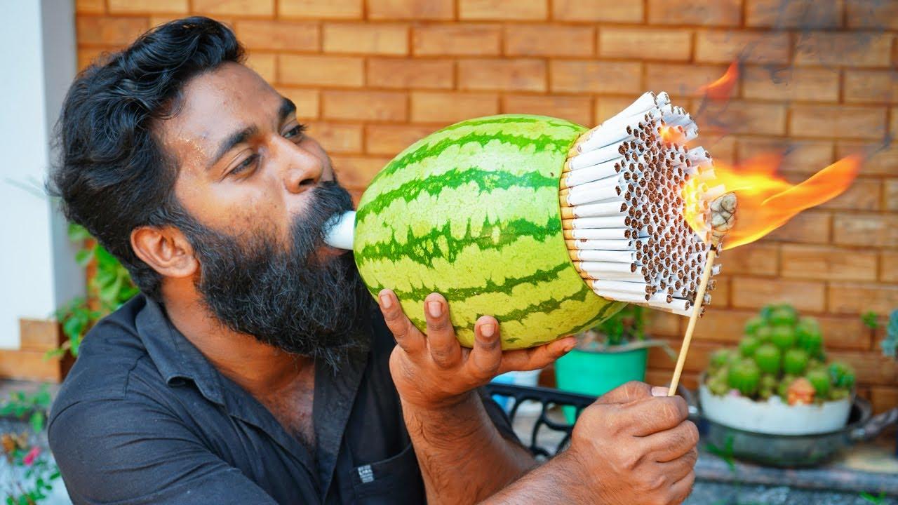 Smoking 1000 Cigarette Through Watermelon | തണ്ണിമത്തൻ 1000 സിഗരറ്റ് വലിച്ചപ്പോൾ | M4 TECH |