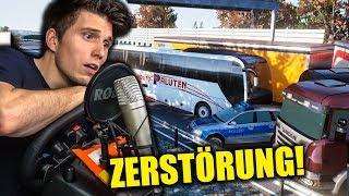HEFTIGER CRASH MIT DER POLIZEI ✪ FERNBUS SIMULATOR mit Lenkrad