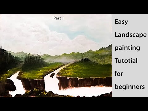 Acrylic Landscape Painting Lesson for beginners PART 1