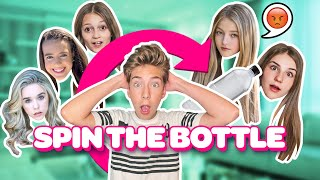 Spin The Bottle Of Dares CHALLENGE With My CRUSH **KISSING ON CAMERA** 😘🍾| Sawyer Sharbino