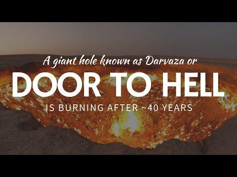 FLAMING door to hell in Derweze: travel destination in Karakum Desert, Turkmenistan