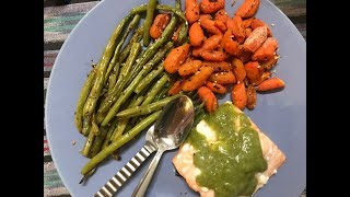 What I Ate On weight Watchers Lifetime | 3 SP PB Fit Sandwich | 0 SP Salmon and Roasted Vegetables
