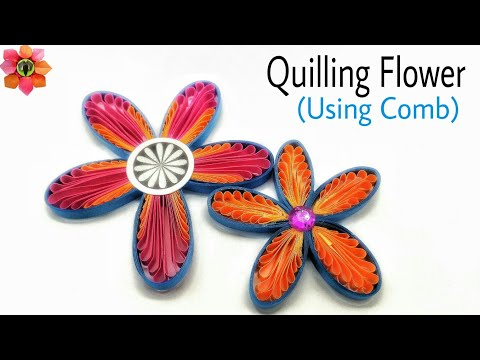Quilling Flower using comb (Design 3) - DIY Tutorial by Nature Folds - 89