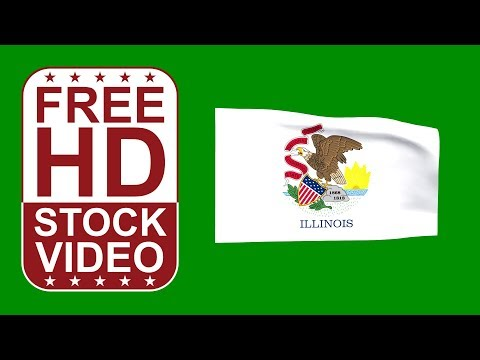 FREE HD video backgrounds – USA Illinois State flag waving on green screen 3D animation